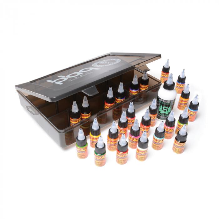 Conjunto Tintas De Viaje Eternal Ink - 25 Botellas De 15ml (1/2oz) + 1 Botella De 120ml (4oz) Stencil Stuff + Caja Divisoria Sullen Clothing
