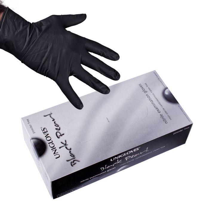 Caja De 100 Guantes Uniglove Pearl Nitrilo Color Negro