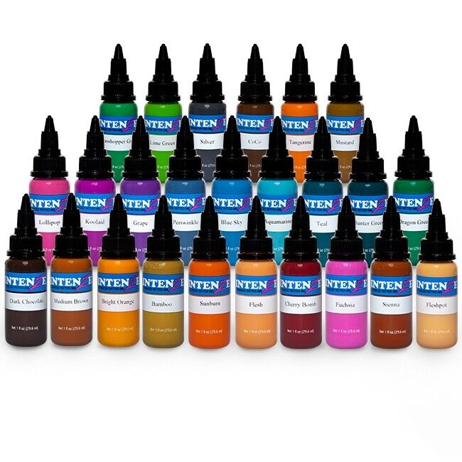 Conjunto De 25 Botellas Tinta Tatuaje Intenze Ink New Colours 30ml (1oz)