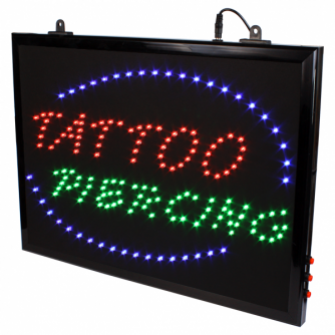 Señal LED 'TATTOO PIERCING' Colgable Con Cadena
